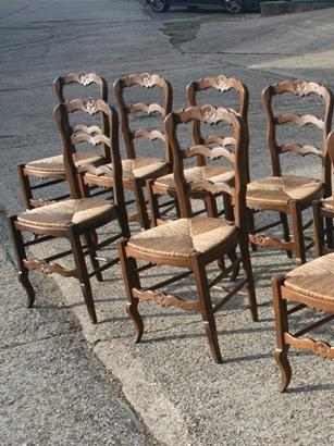 12 French ladderback chairs
