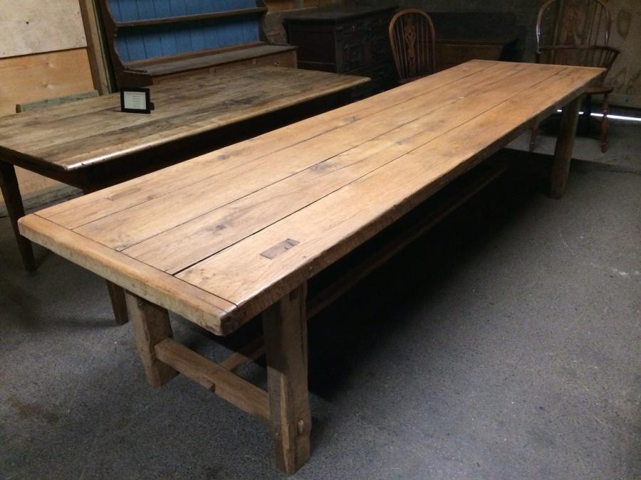 320cm Large Antique Oak 4 Plank Top With Matching Benches Table Refectory