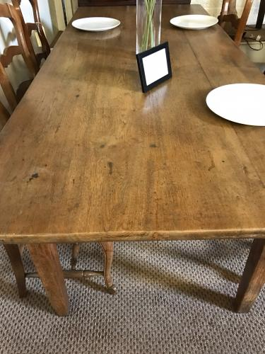 "6ft 10"" Antique Pale oak farmhouse table"