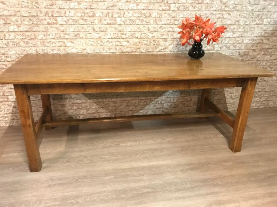 A beautiful pale elm antique farm table