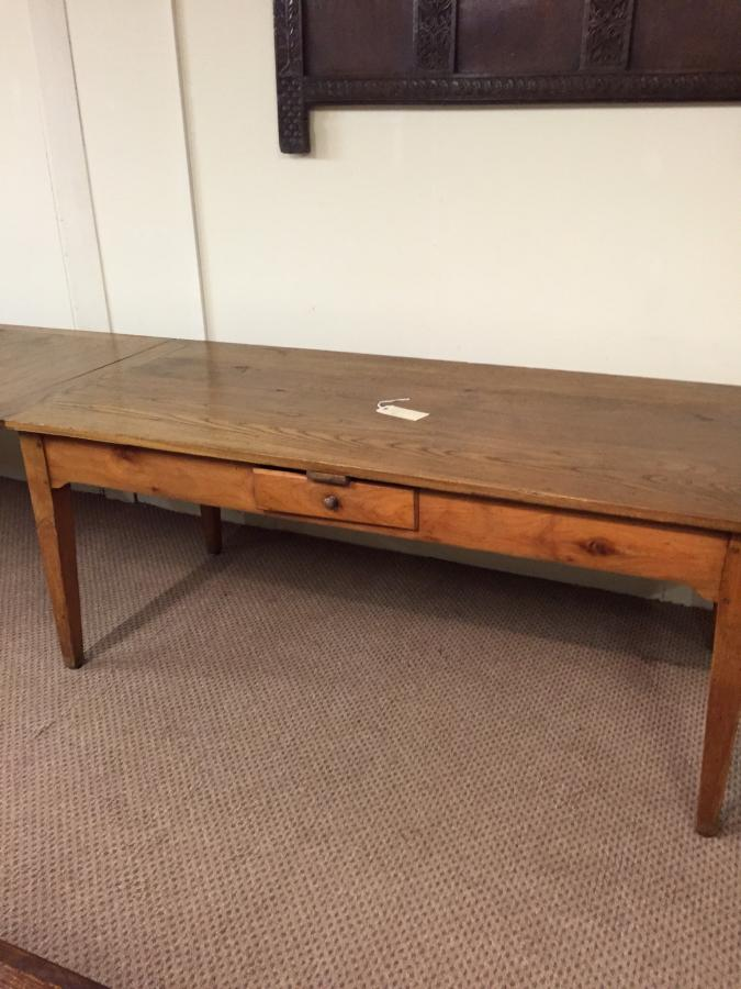 Antique Double Drawer Leaf Table In Chestnut And Cherry