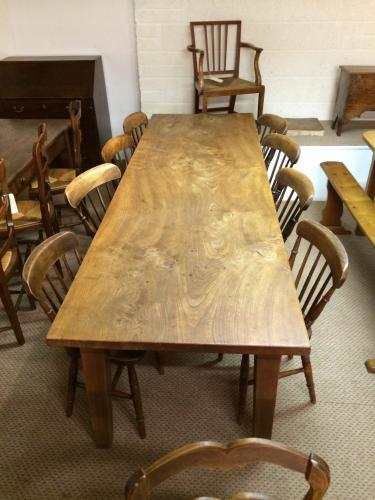 Antique elm single plank farmhouse table