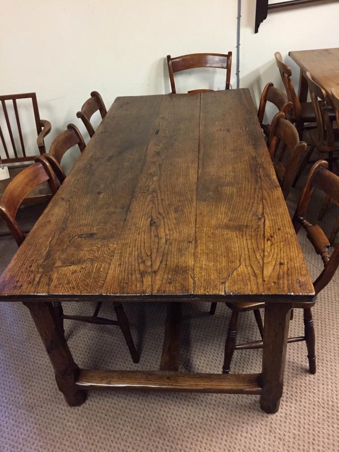 Antique Oak Refectory Farm Table Circa 1840 Farmhouse