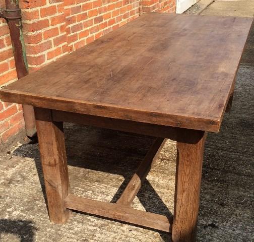 Antique oak rustic hstretcher farmhouse table vintage for Farmhouse rustic oak