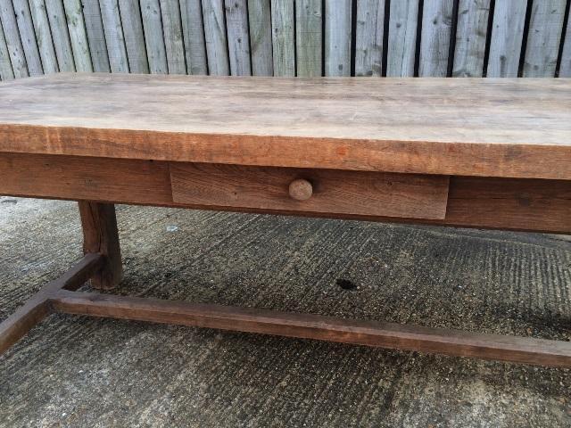 Antique Oak Rustic Hstretcher farmhouse table vintage table