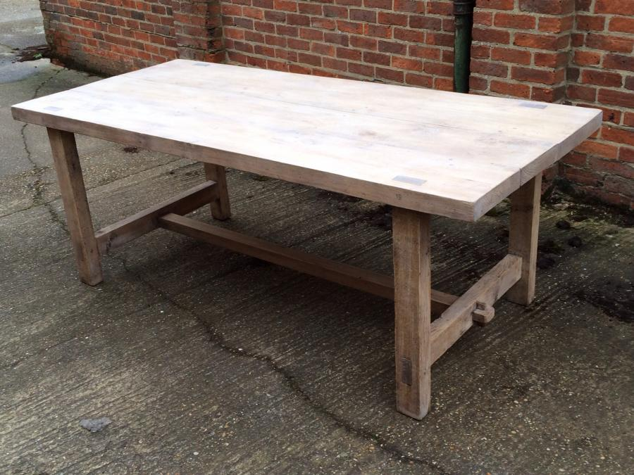 Antique pale refectory style farmhouse table Farmhouse table antique tables