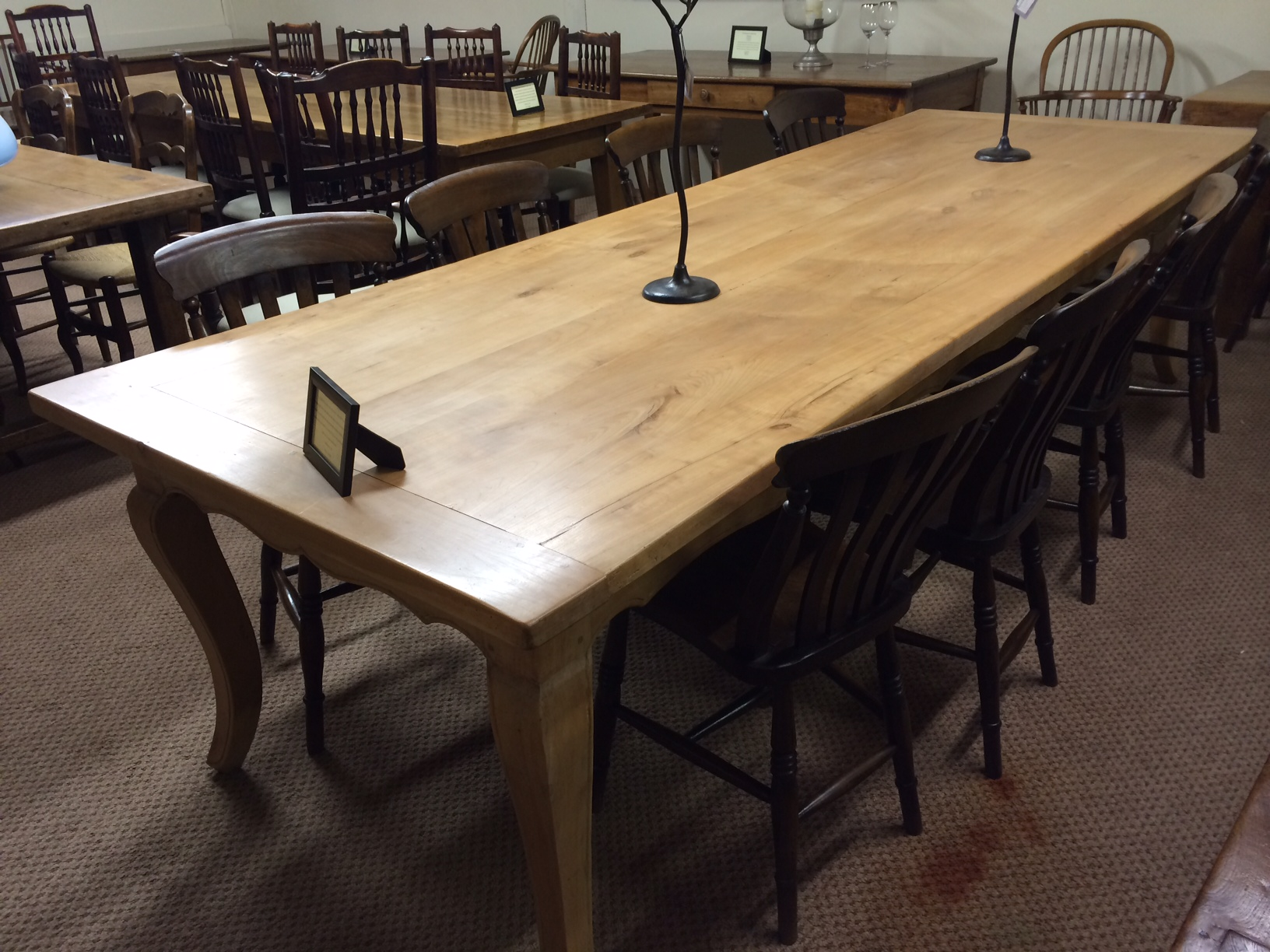 Antique cherry cabriole leg table for 10 seater farmhouse table