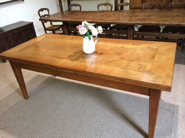 Antique Cherry double draw leaf table with angle cut top