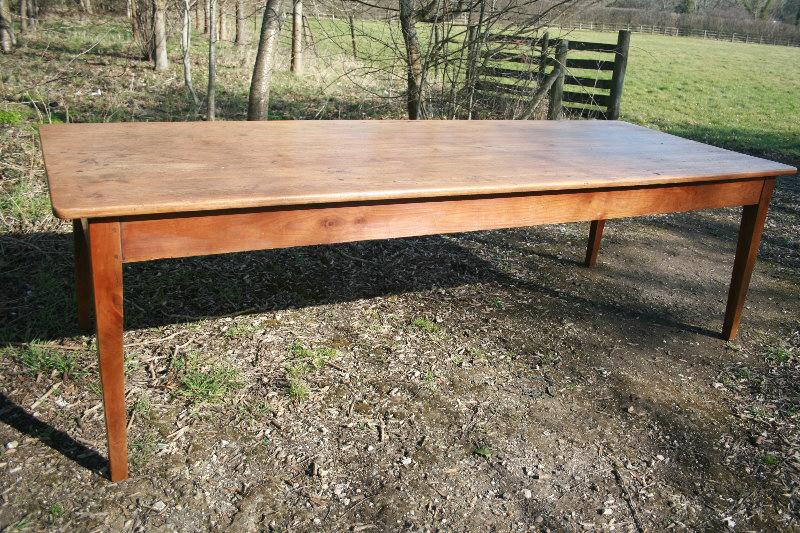 Cherry base and faded top french farm house table antique for Farm table seats 12
