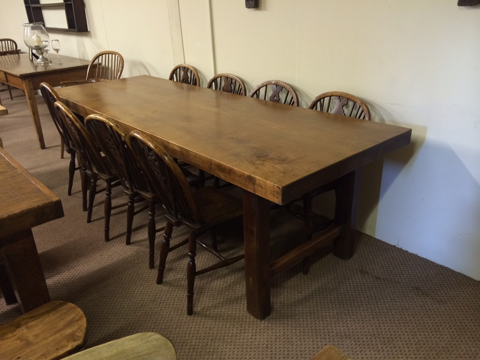 Thick top Elm 8ft antique table