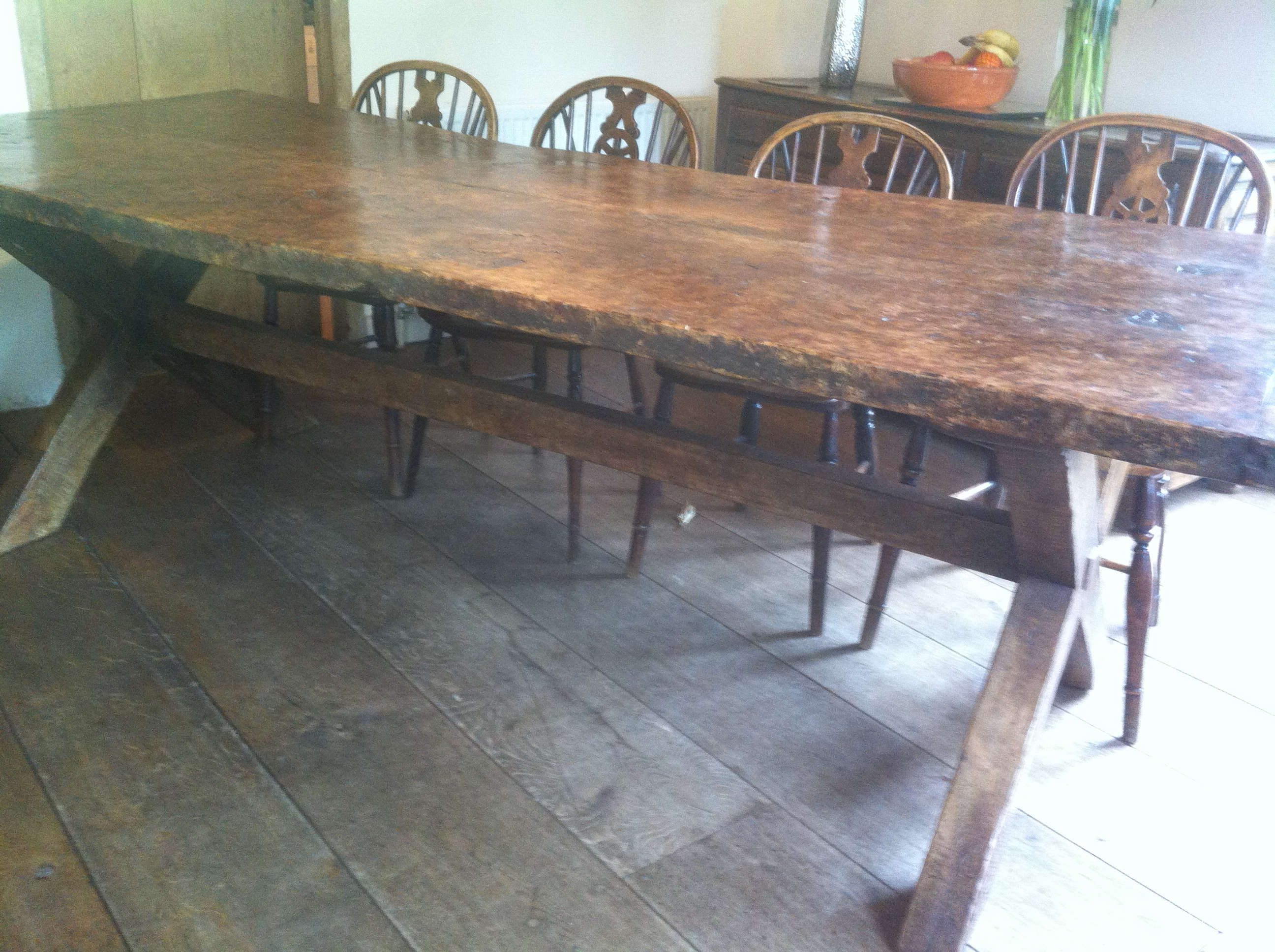 An exceptionally rare Burr Elm Country Tavern Table