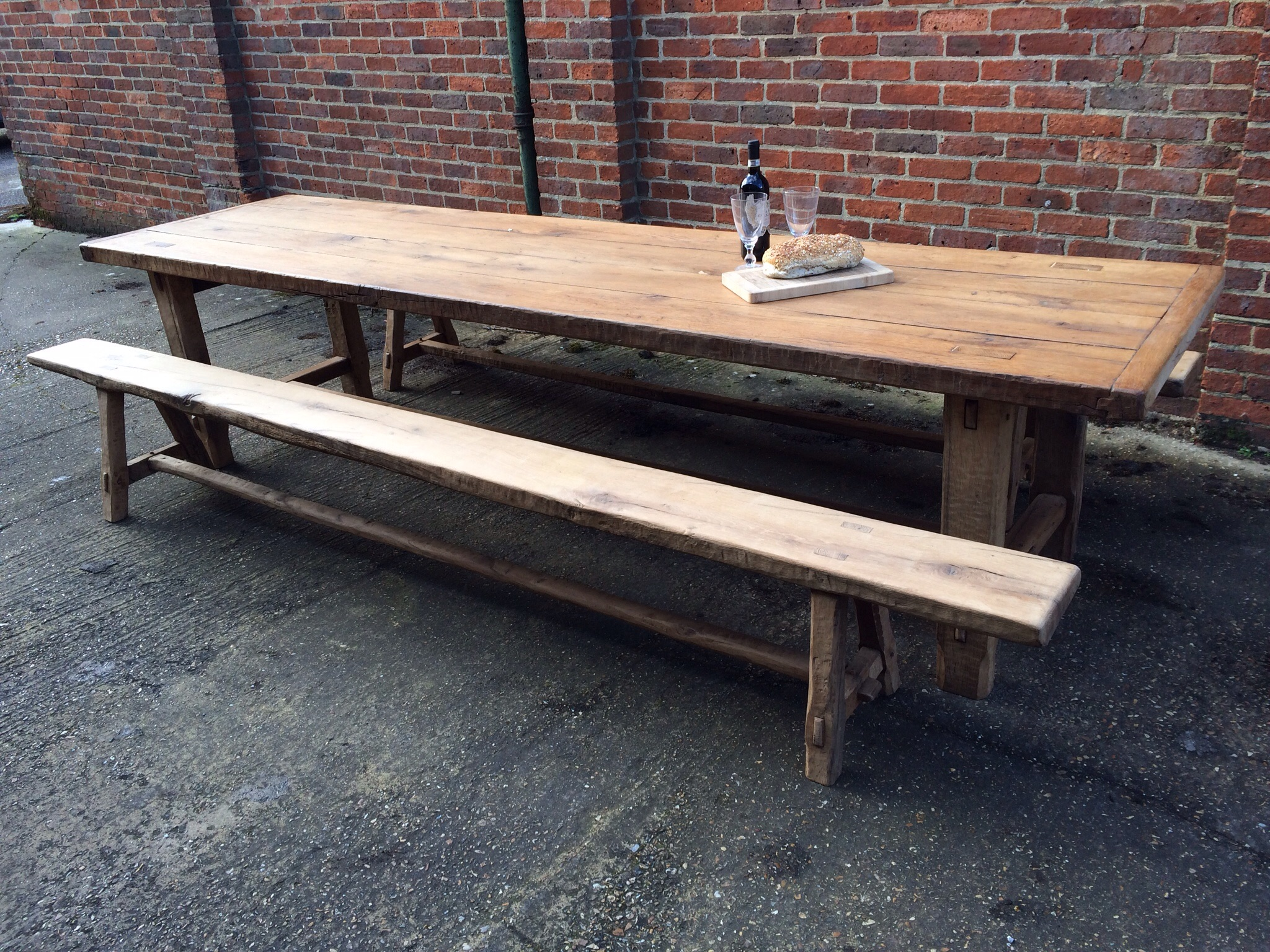 320cm large antique oak 4 plank top with matching benches for 12 seater farmhouse table