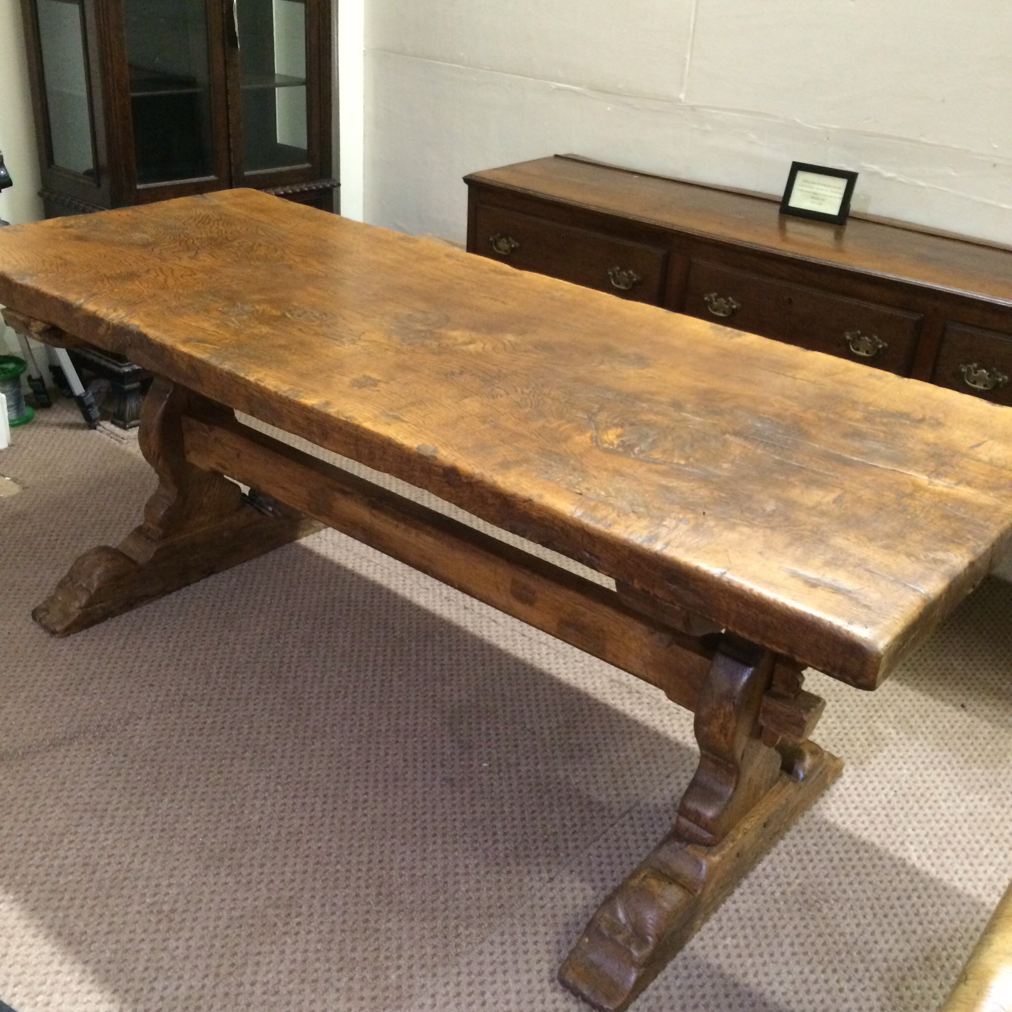 Antique trestle table for 12 seater farmhouse table