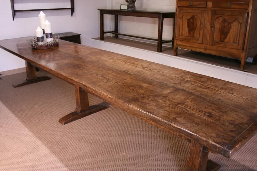 Late 17th century style ash trestle table trestle table for Table 3m long