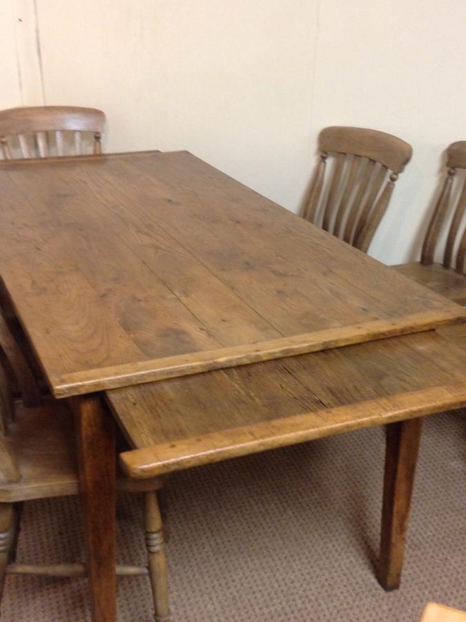Oak small farmhouse table with two breadslides Antique oak extending table