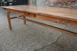 Figured Elm High H/stretcher farmhouse table