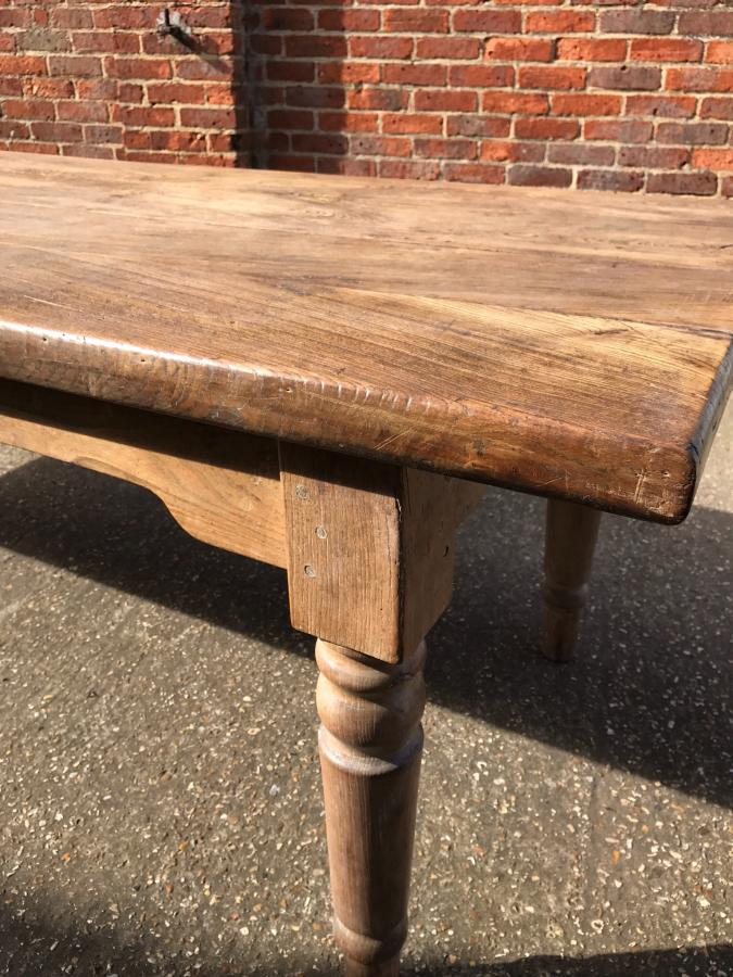 8ft Stunning antique elm 4 plank table with round legs