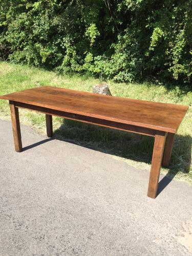 Two plank figured elm farmhouse table