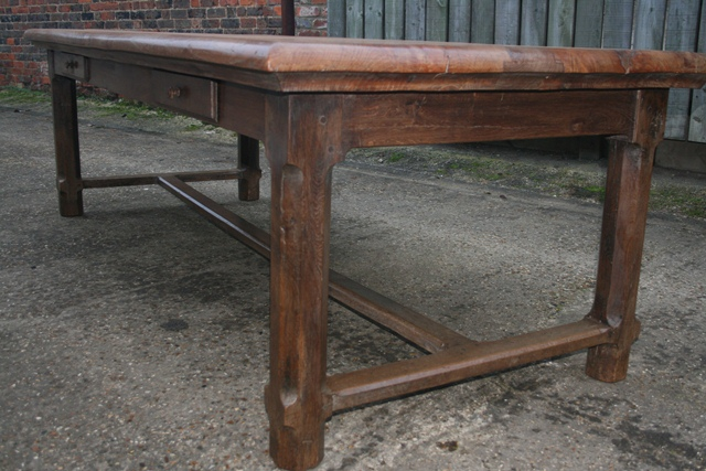 Elm Refectory Table With Four Drawers Antique Farmhouse