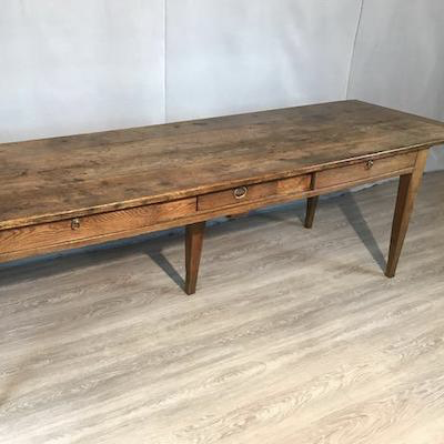 19th Century Three Drawer Oak Serving Table