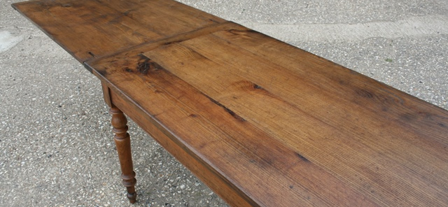 Rare Oak Double Draw Leaf Antique Farmhouse Table