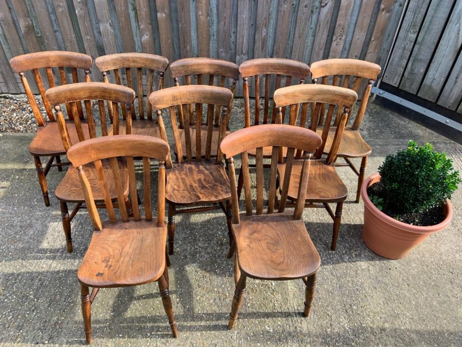 10 Antique Lath Back Dining Chairs