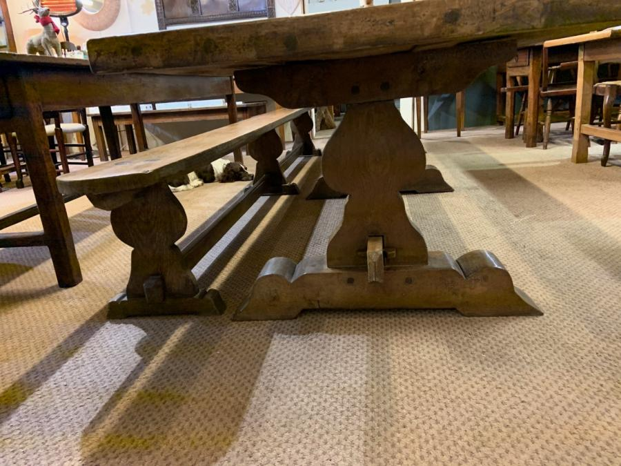 17th Century Style Large Trestle  Farmhouse Table with two wide trestle benches