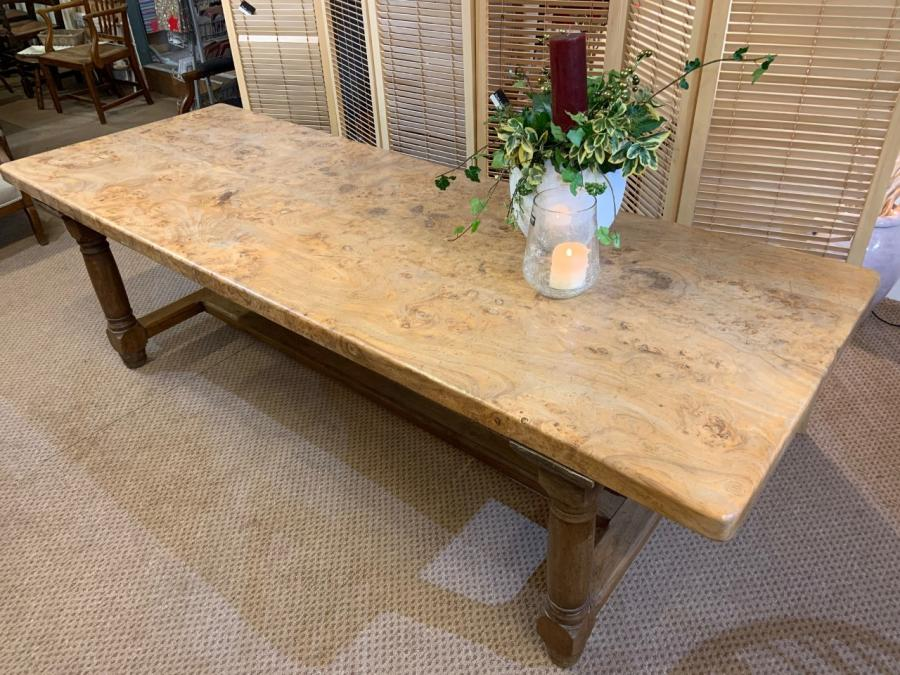 Vintage Burr Elm Farmhouse Table