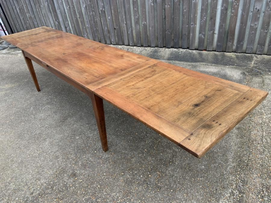 19th Century Cherry Double Extending Farmhouse Table