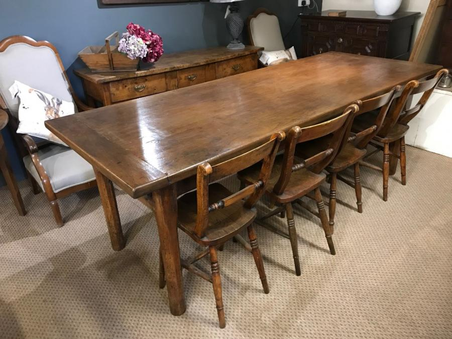19th Century French Farmhouse Table with one drawer