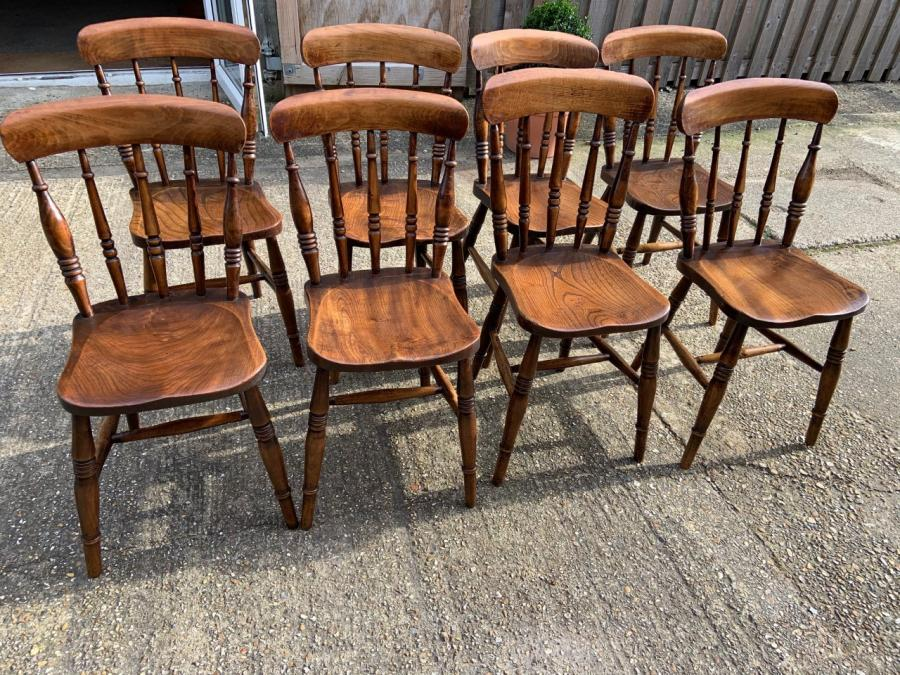 19th Century True Set of Antique Spindle Back Chairs