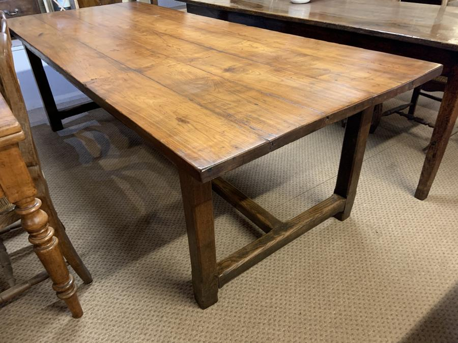 19th Century Wide Cherry H stretcher farmhouse table