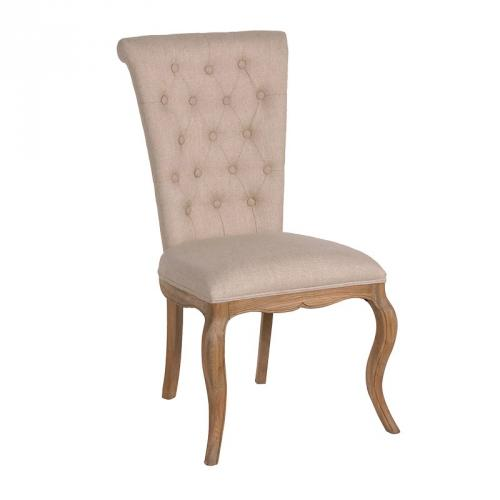 6 Oak & Linen Dining Chairs