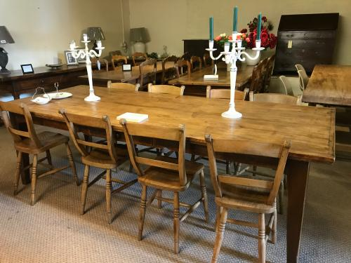 8ft pale antique dining table