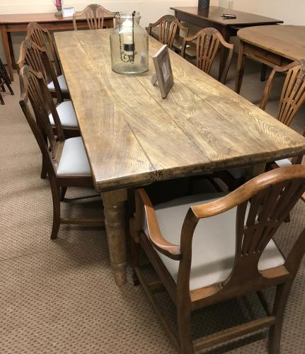 Large Antique Elm Dining Table
