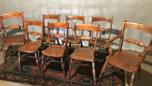 A matched set of 6 Oxford scroll back chairs + 2 carvers