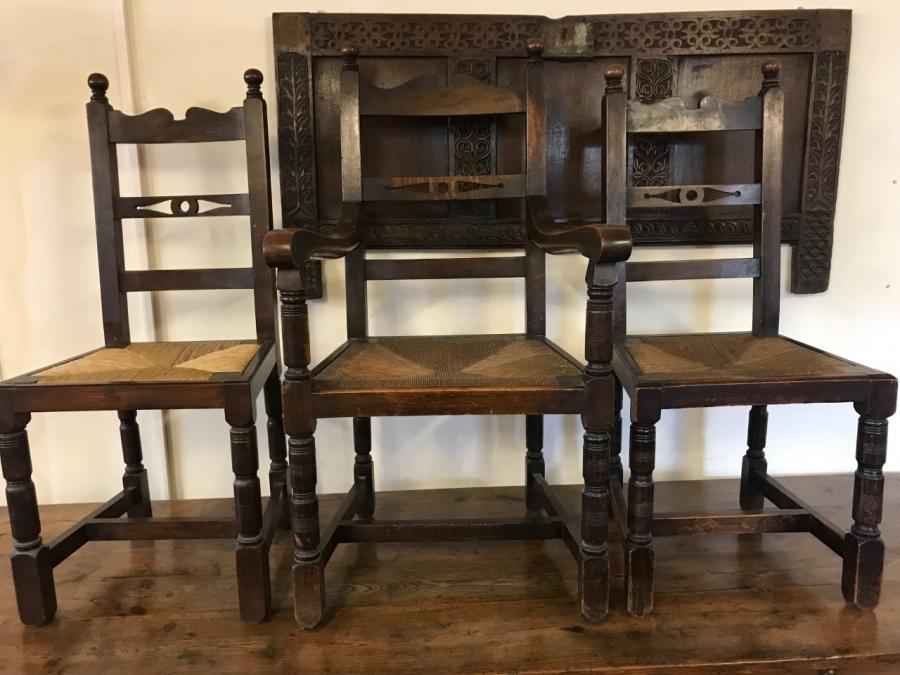 A set of Eight Oak Rush Seats Chairs