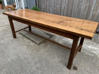Antique Ash farmhouse table with stretcher