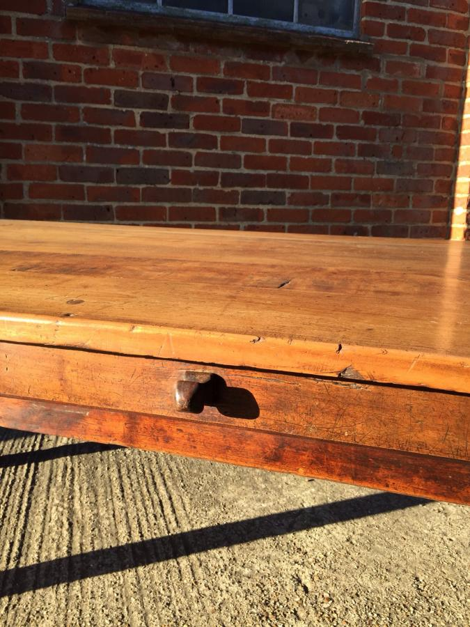 Antique cherry 8ft table with drawer and cleated ends