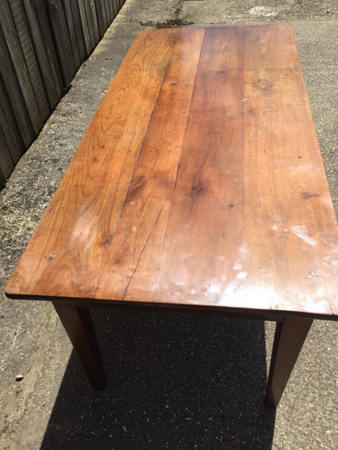 Antique cherry table with bread slide