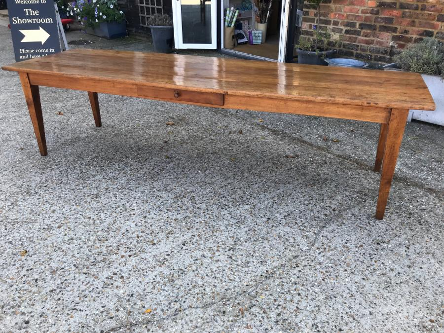 Large Antique Cherry Tapered Leg Farmhouse Table