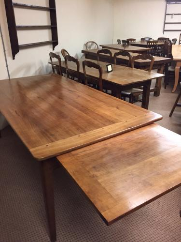 Antique cherry wide farmhouse table with slide