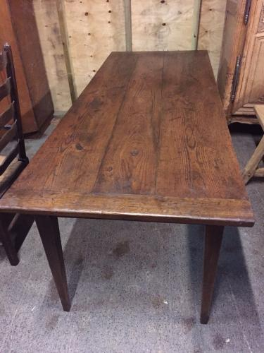 Antique Dark 3 Plank Oak Table