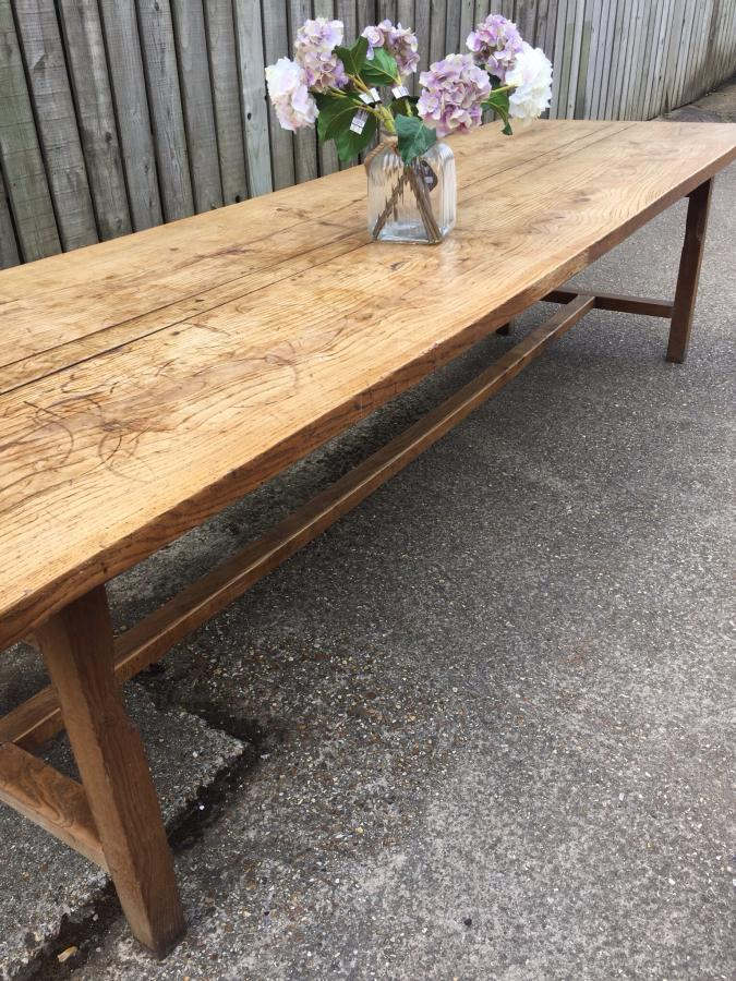 Antique large ash Normandy farmhouse table