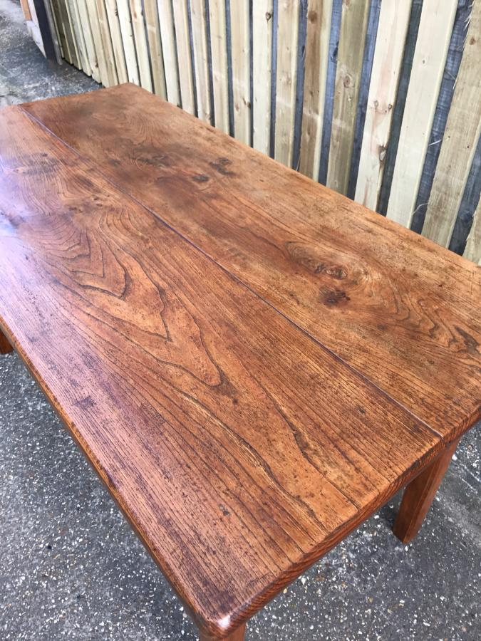 Antique little elm two plank table