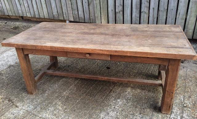 Antique Oak Rustic Hstretcher farmhouse table