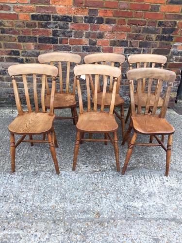 Antique pale lath back chairs