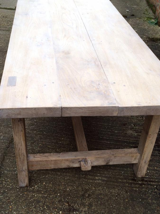Antique pale refectory style farmhouse table