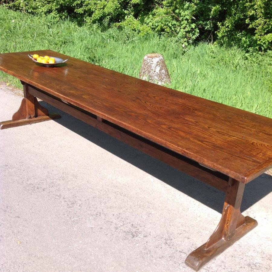 Antique ash trestle table