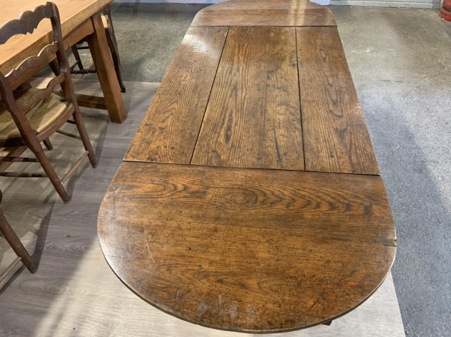 Antique Trestle Table With Two Half Moon Leaves